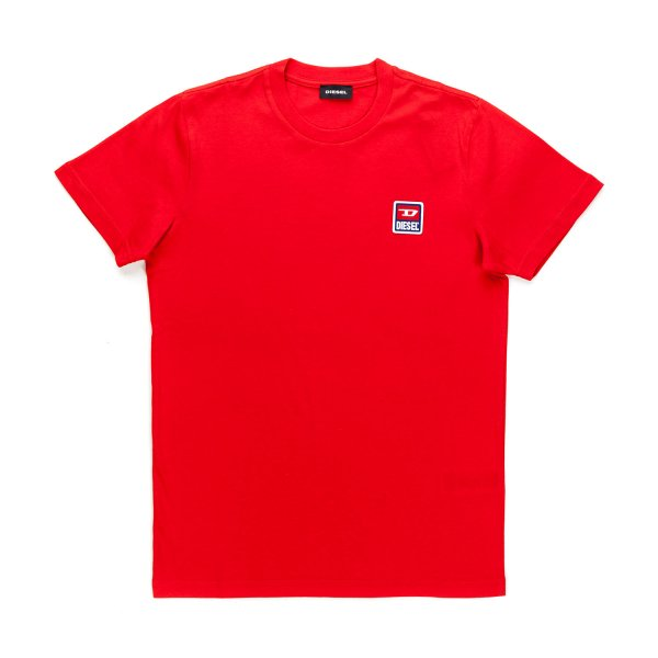 Diesel - UNISEX RED T-SHIRT WITH A LOGO PRINT