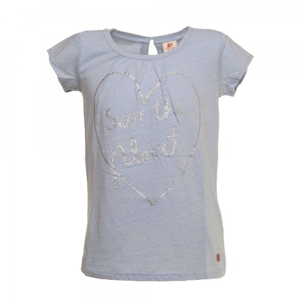 American Outfitters - T-SHIRT GIRL Celeste CON STAMPA GLITTER ARGENTO