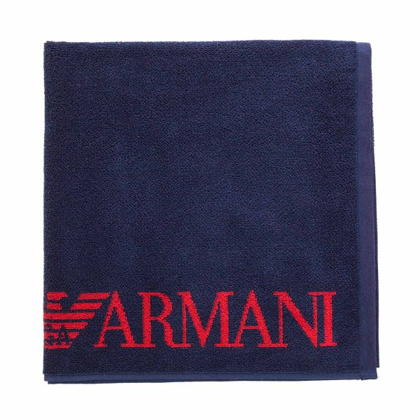 Armani Junior - BLUE BEACH TOWEL WITH LOGO