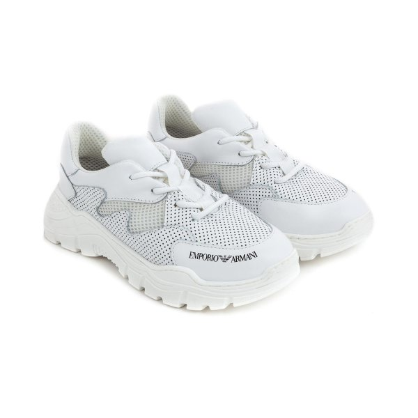 Armani Junior - GIRL AND BOY WHITE SNEAKERS