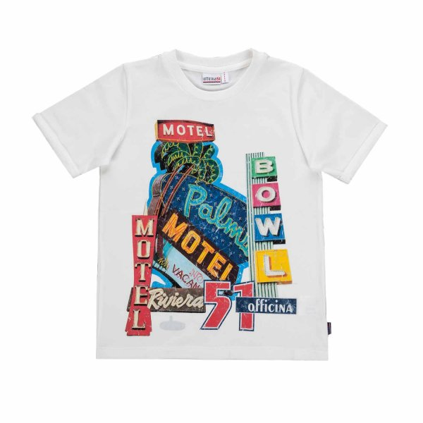 Officina51 - BOYS WHITE PRINTED T-SHIRT