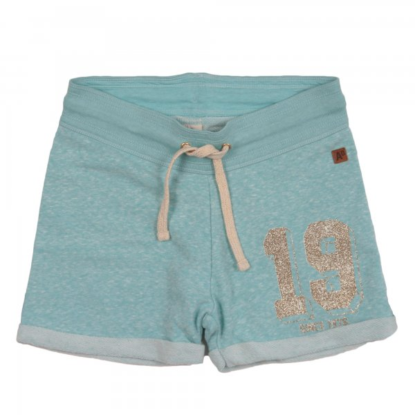 American Outfitters - BERMUDA GIRL CELESTE IN JERSEY CON STAMPA GLITTER
