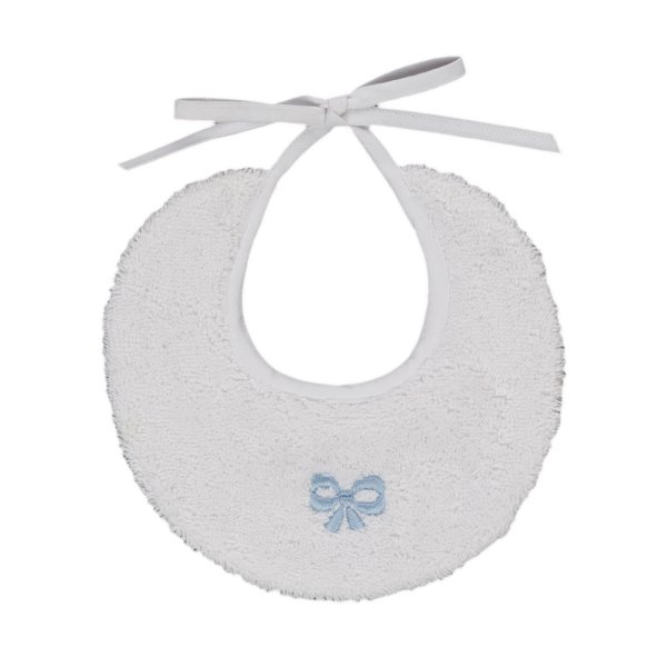 Baroni - BABY BOY BIB WITH LIGHT BLUE BOW