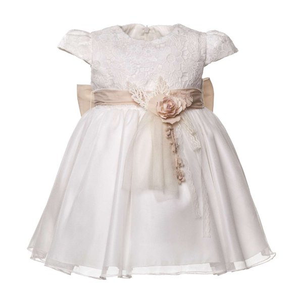Mimilú - BABY GIRLS WHITE EMBROIDERED DRESS