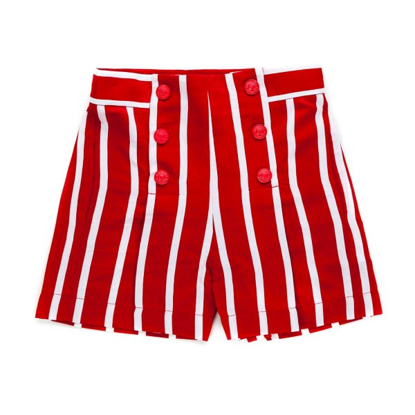 Monnalisa - RED STRIPED SHORTS FOR GIRLS