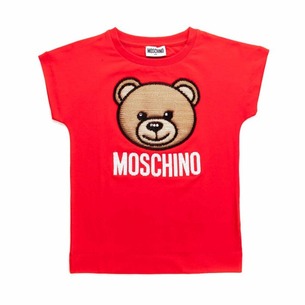 Moschino - RED T-SHIRT WITH LOGO FOR GIRL