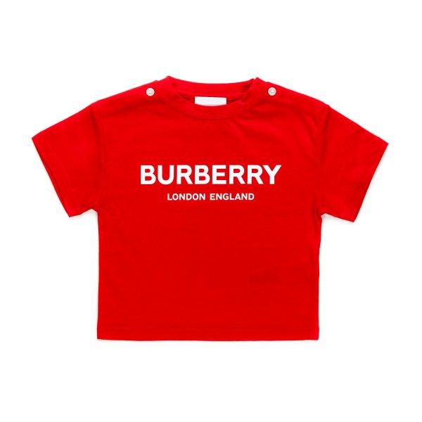 Burberry - RED LOGO PRINT T-SHIRT FOR BABY
