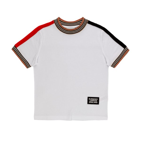 Burberry - WHITE LOGO PATCH T-SHIRT FOR BOY