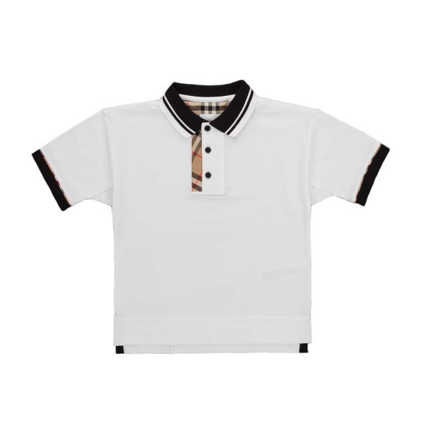 Burberry - CHECK WHITE POLO SHIRT FOR BOY