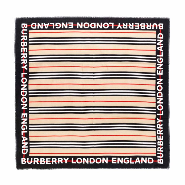 Burberry - UNISEX SILK BLEND SCARF WITH LOGO