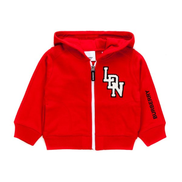 Burberry - RED ZIP UP HOODIE FOR BABY BOY