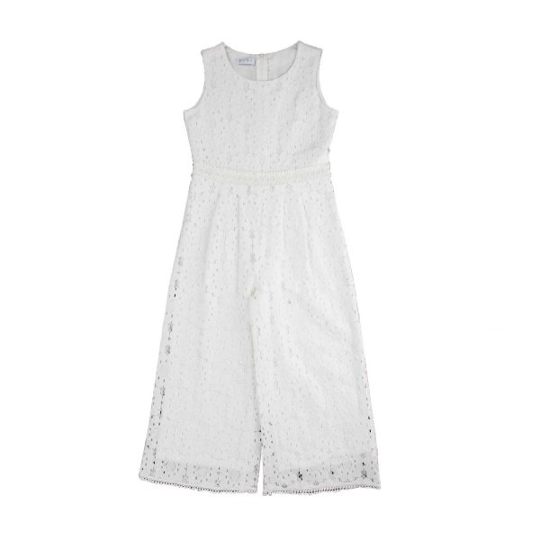 Elsy - WHITE LACE OVERALLS FOR GIRLS