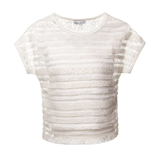 Elsy - WHITE LACE T-SHIRT FOR GIRLS