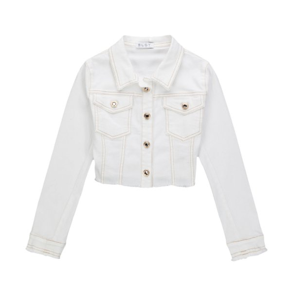 Elsy - WHITE CROPPED JACKET FOR GIRLS