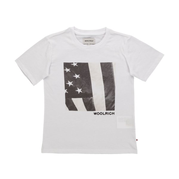 Woolrich - PRINT WHITE T-SHIRT FOR BOYS