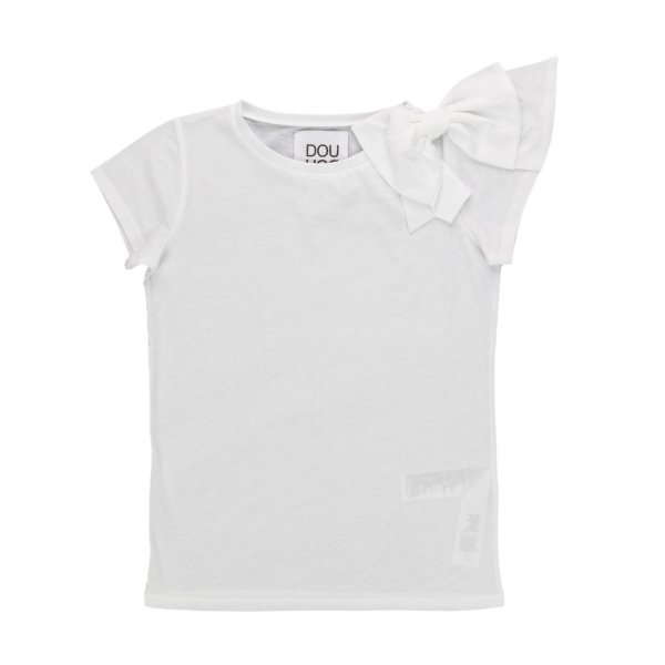 Douuod - BOW WHITE T-SHIRT FOR GIRLS
