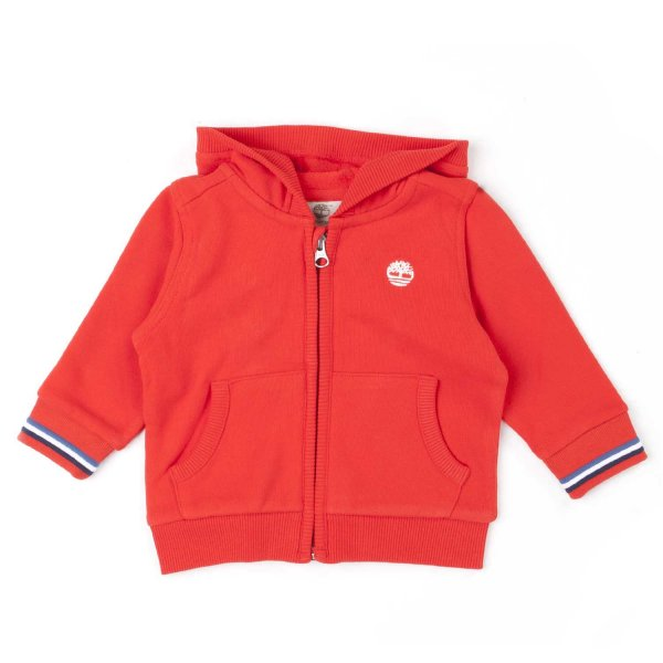 Timberland - RED ZIP UP HOODIE FOR BABY BOYS