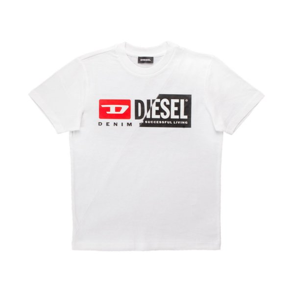 Diesel - UNISEX WHITE T-SHIRT WITH DOUBLE LOGO