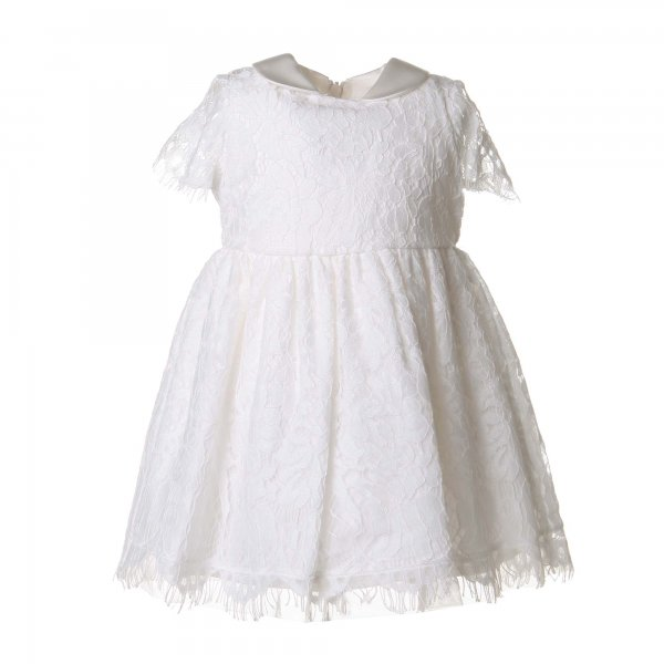 Monnalisa - ABITO BABY BIANCO PANNA IN PIZZO E TULLE
