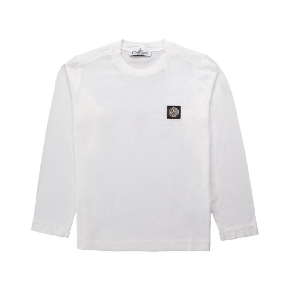 Stone Island - LONG SLEEVE WHITE T-SHIRT FOR BOY