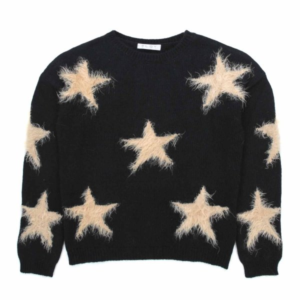 Elsy - BLACK PULLOVER WITH STARS FOR GIRL