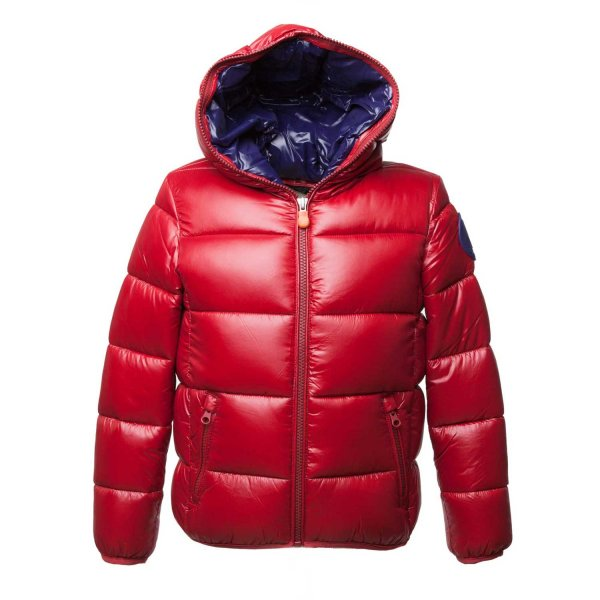 Save The Duck - BOY RED DOWN JACKET WITH HOOD