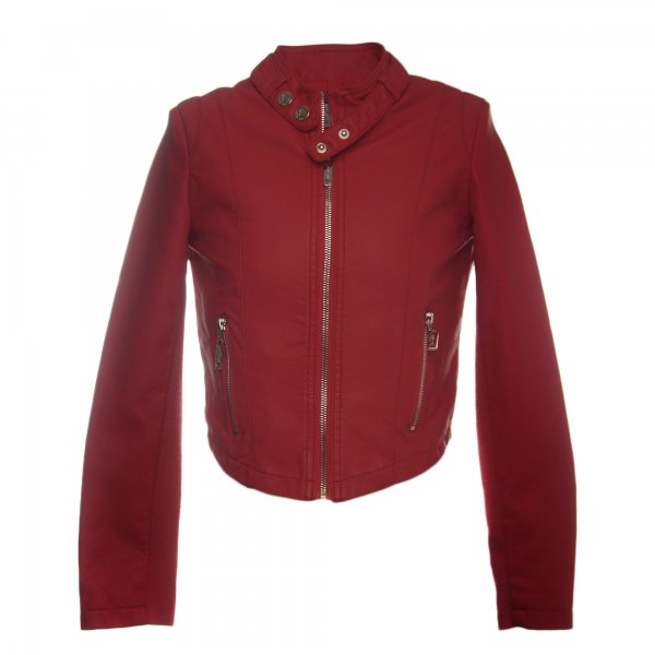 Twin-Set - GIACCA BIKER GIRL IN ECOPELLE ROSSA