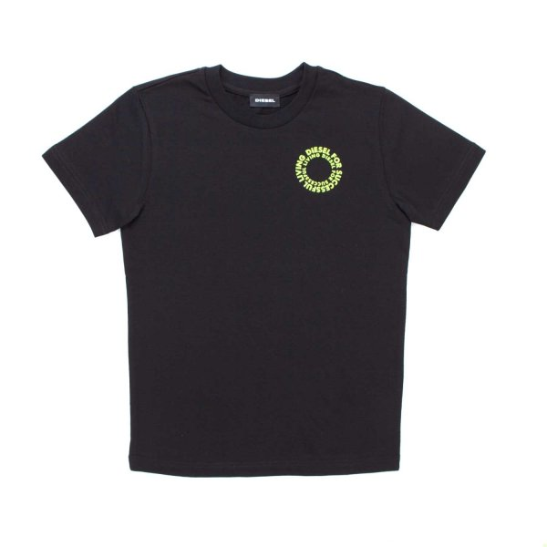 Diesel - BOY BLACK PRINTED T-SHIRT