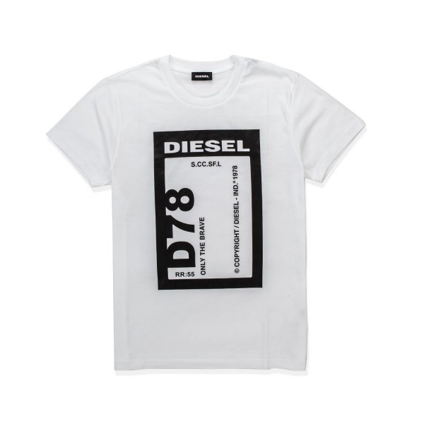 Diesel - WHITE T-SHIRT WITH LOGO PRINT