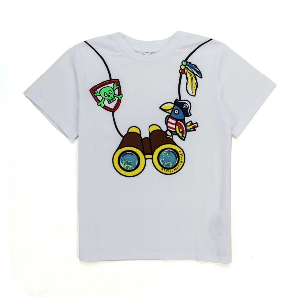 Stella Mccartney - WHITE COTTON T-SHIRT FOR BOY AND GIRL
