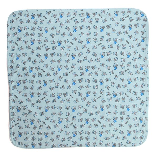 Moschino - BABY LIGHT BLUE COTTON BLANKET