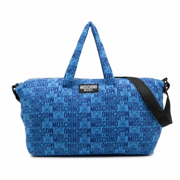Moschino - LOGO PRINT BLUE MOMMY BAG