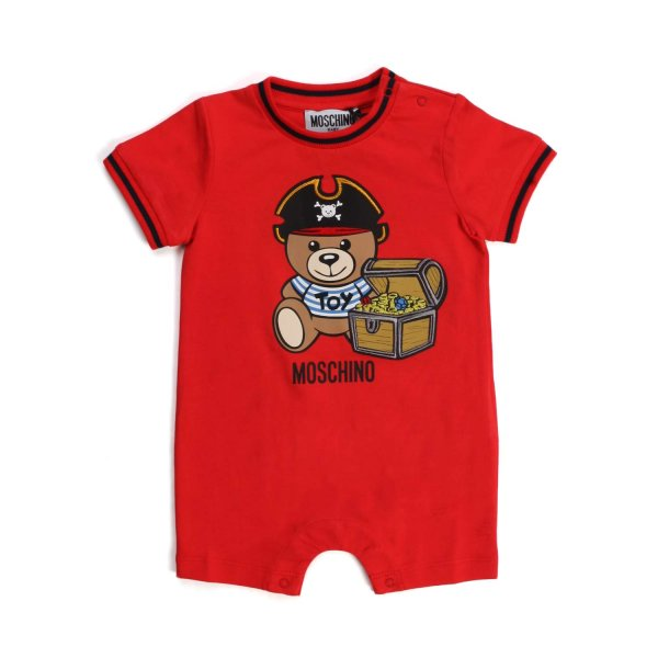 Moschino - BABY RED COTTON ROMPER