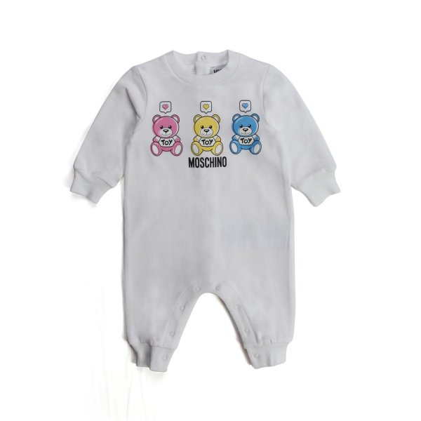 Moschino - TEDDY BEAR WHITE ROMPERS FOR BABY