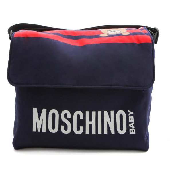 Moschino - BLUE MOMMY BAG WITH A LOGO PRINT