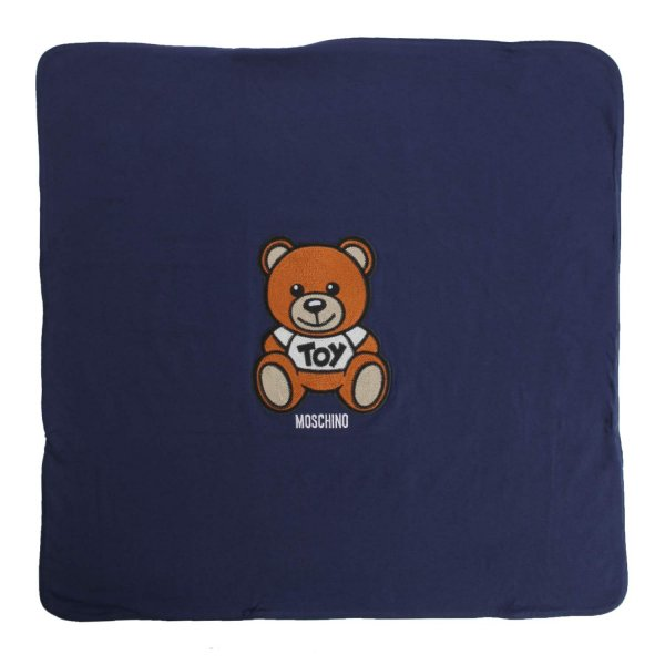 Moschino - BABY BLUE BLANKET WITH TEDDY BEAR