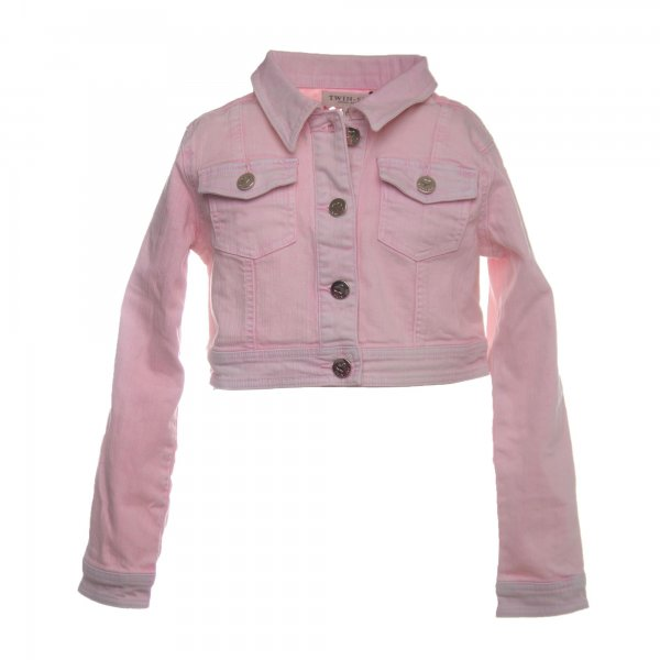 Twin-Set - GIACCA CORTA GIRL IN DENIM ROSA CHIARO