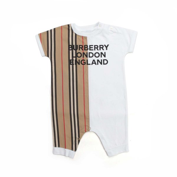 Burberry - BABY COTTON ROMPER WITH LOGO