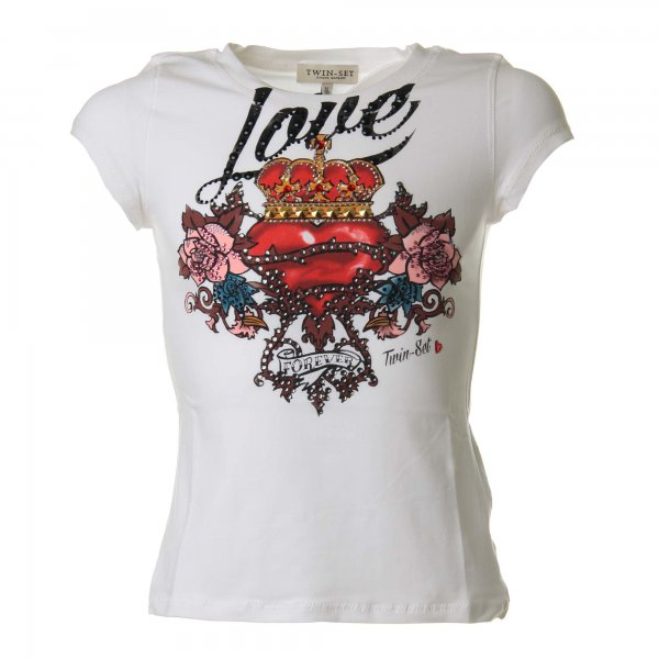 Twin-Set - T-shirt bianca con stampa Love