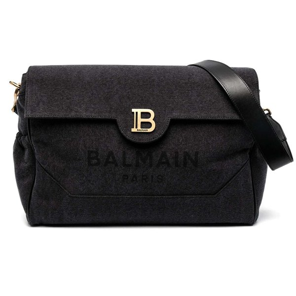 Balmain - DARK GREY MOMMY BAG WITH LOGO