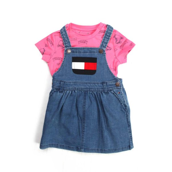 Tommy Hilfiger - BLUE AND PINK DUNGAREES ROMPER FOR BABY