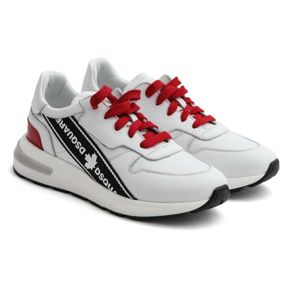 Dsquared2 - UNISEX WHITE AND RED SNEAKERS