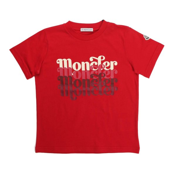 Moncler - UNISEX LOGO PRINT RED COTTON T-SHIRT