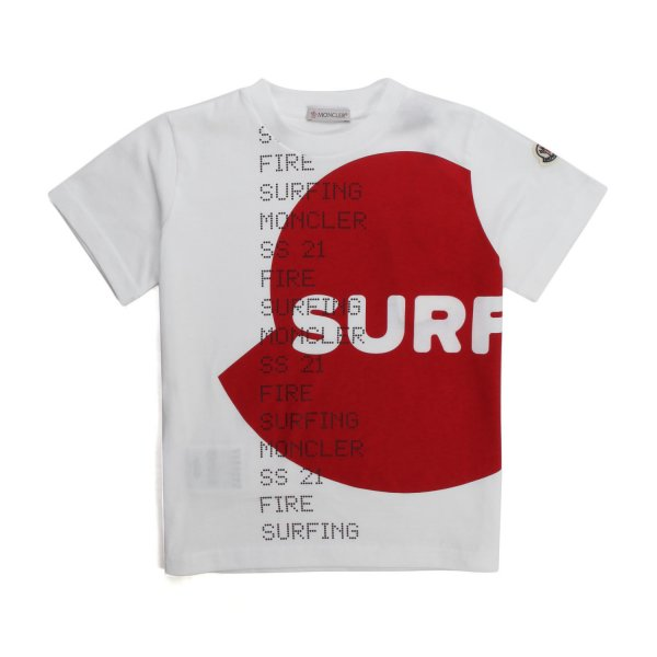 Moncler - UNISEX WHITE AND RED T-SHIRT