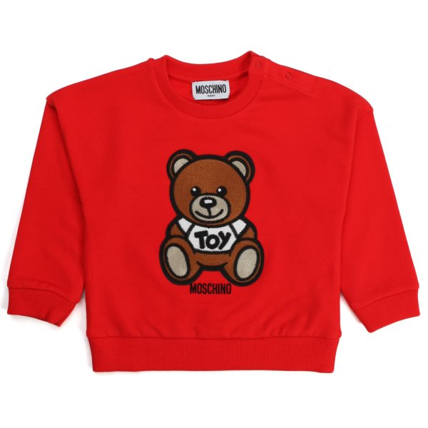 Moschino - TEDDY BEAR RED SWEATSHIRT FOR BABY