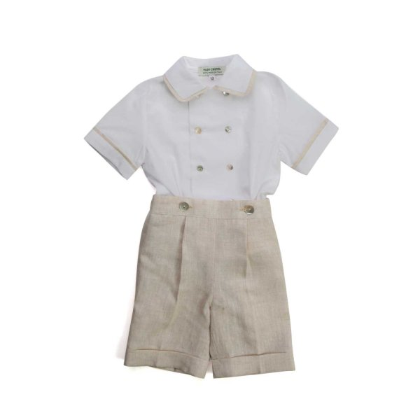 Paio Crippa - BABY BOY WHITE AND BEIGE OUTFIT