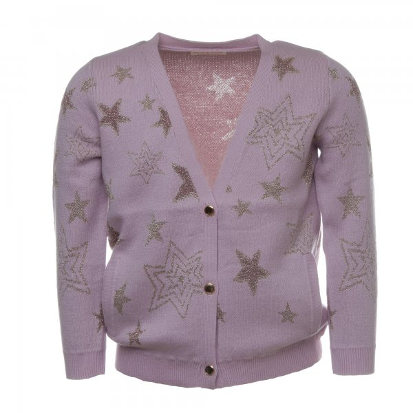 Simple Kids - Cardigan Collie rosa bambina con stelle oro