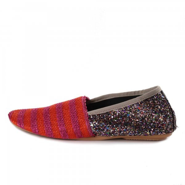 Refined soft slipper by Anniel Girl with multicolored glitter upper  - annameglio.com shop online