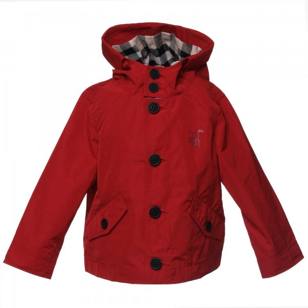 Burberry - Parka packaway baby con cappuccio military red