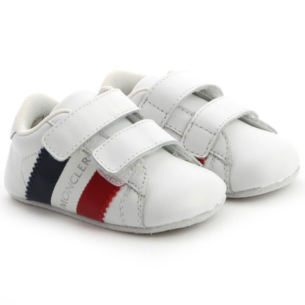 Moncler - Leather Newborn Shoe With Rips